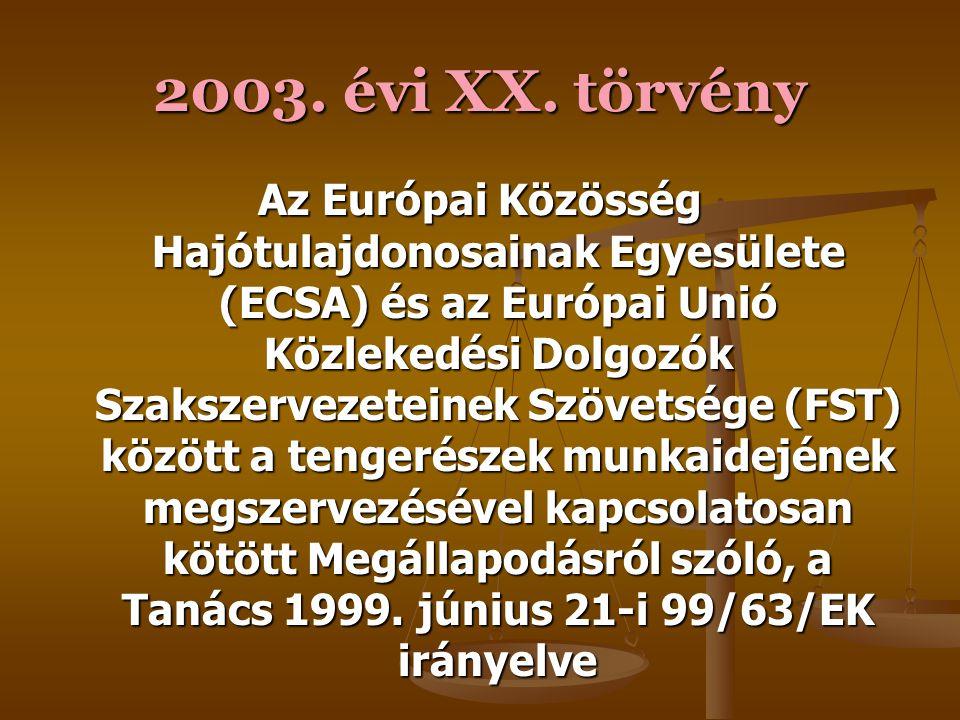 2003. évi XX. törvény A munkaidő-szervezés egyes szempontjairól szóló 93/104/EK tanácsi irányelvnek az abból kizárt ágazatok és tevékenységek szabályo
