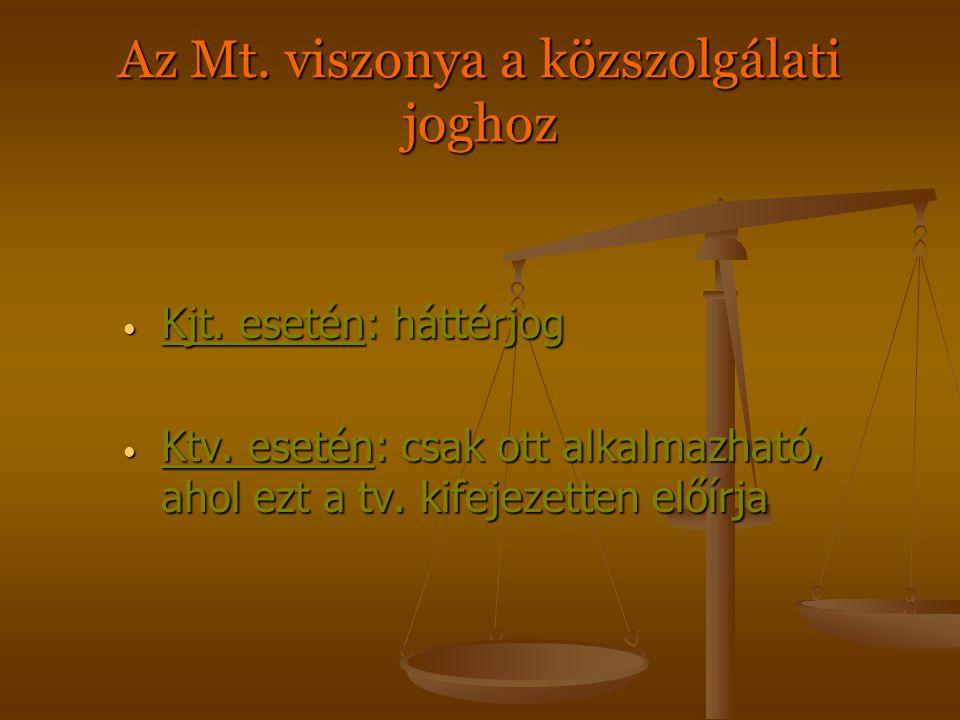 A hazai foglalkoztatási viszonyok Munkajogviszony tipikus atipikus Közszolgálati viszonyok köztisztviselő, közalkalmazott bíró, ügyész, rendőr, vámos, stb.