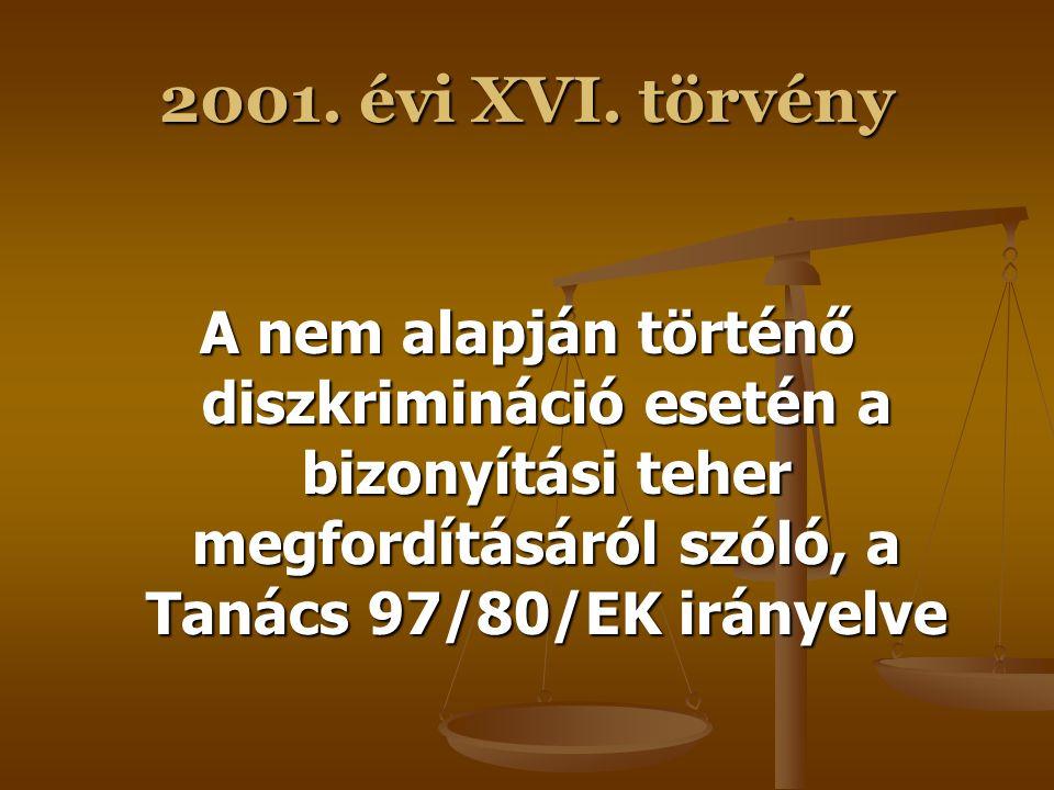 Az Mt-t harmonizációs céllal módosító jogszabályok 2001.