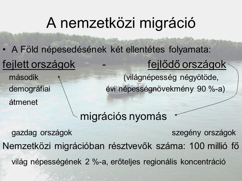 A nemzetközi migráció A Föld népesedésének két ellentétes folyamata: fejlett országok - fejlődő országok második (világnépesség négyötöde, demográfiai