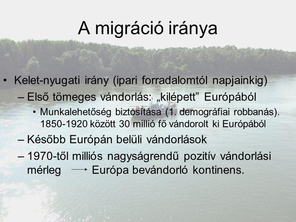 """A migráció iránya Kelet-nyugati irány (ipari forradalomtól napjainkig) –Első tömeges vándorlás: """"kilépett"""" Európából Munkalehetőség biztosítása (1. de"""