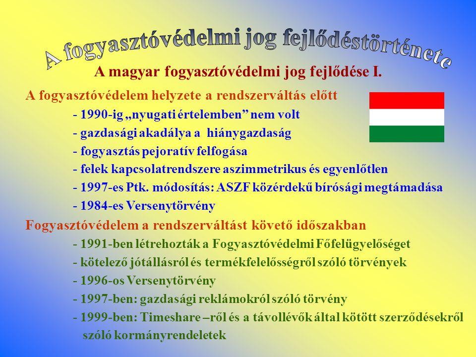 """A magyar fogyasztóvédelmi jog fejlődése I. A fogyasztóvédelem helyzete a rendszerváltás előtt - 1990-ig """"nyugati értelemben"""" nem volt - gazdasági akad"""