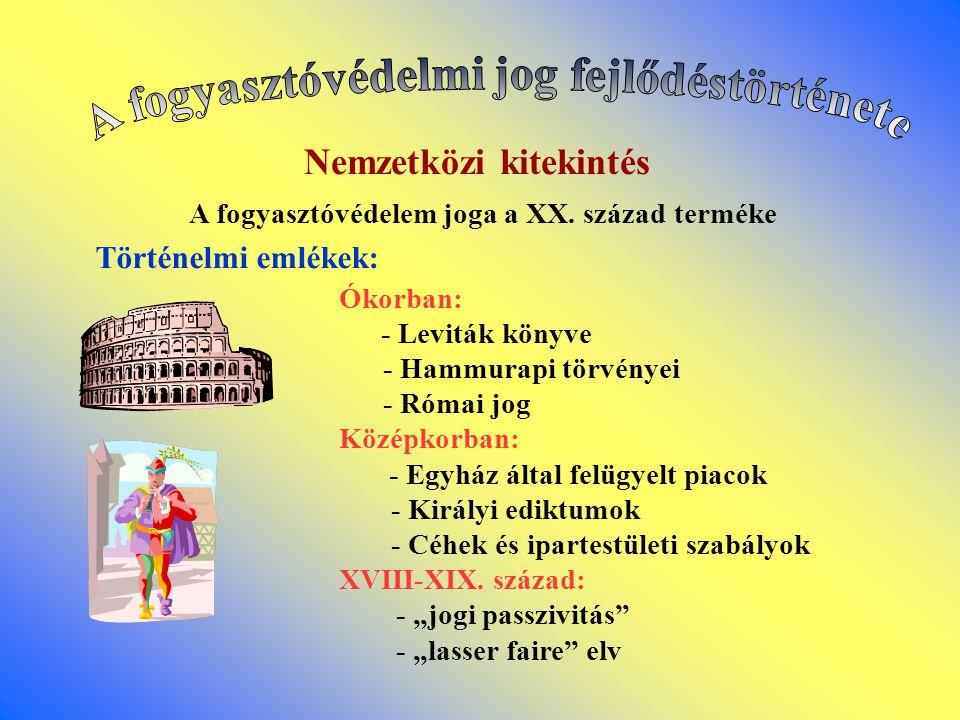 Nemzetközi kitekintés A fogyasztóvédelem joga a XX. század terméke Történelmi emlékek: Ókorban: - Leviták könyve - Hammurapi törvényei - Római jog Köz