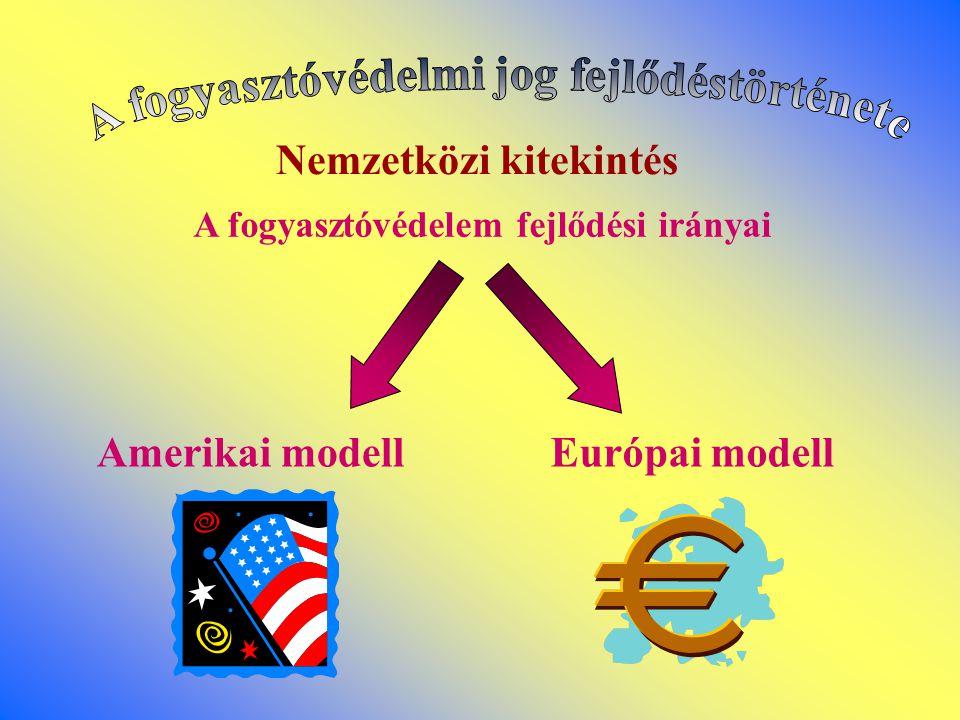 A fogyasztóvédelem fejlődési irányai Amerikai modellEurópai modell