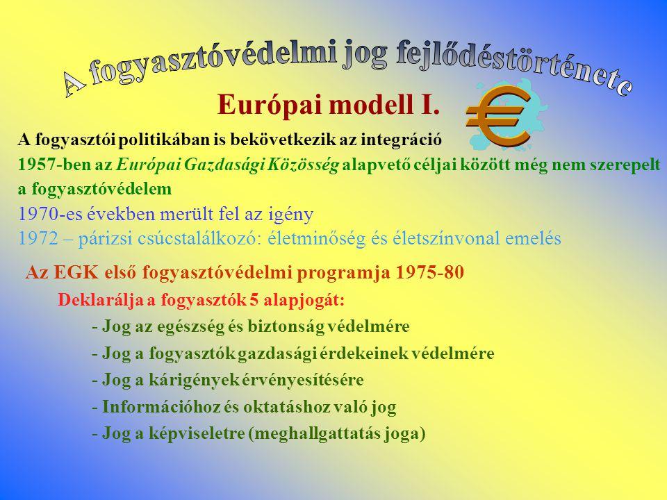 Európai modell I. A fogyasztói politikában is bekövetkezik az integráció 1957-ben az Európai Gazdasági Közösség alapvető céljai között még nem szerepe