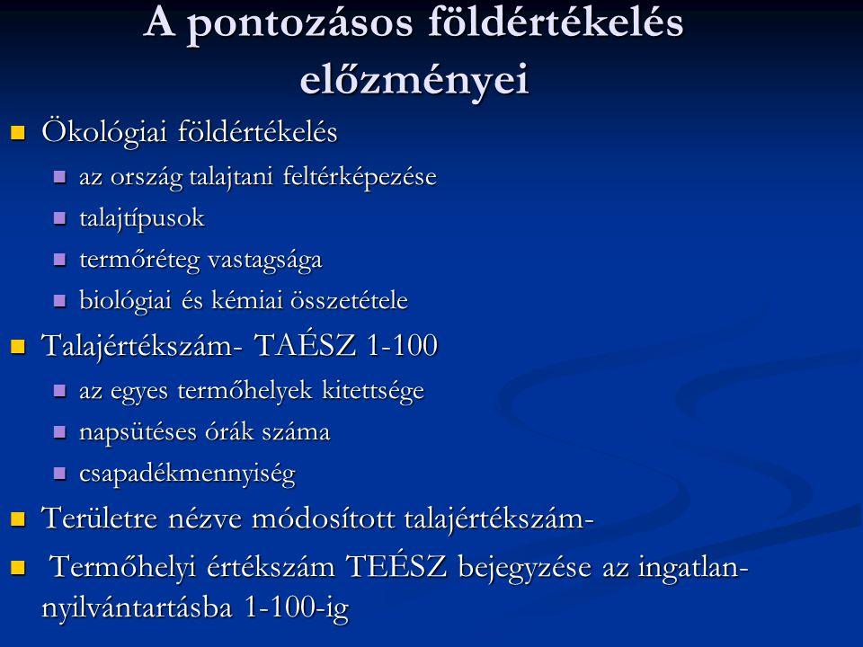 A pontozásos földértékelés előzményei Ökológiai földértékelés Ökológiai földértékelés az ország talajtani feltérképezése az ország talajtani feltérképezése talajtípusok talajtípusok termőréteg vastagsága termőréteg vastagsága biológiai és kémiai összetétele biológiai és kémiai összetétele Talajértékszám- TAÉSZ 1-100 Talajértékszám- TAÉSZ 1-100 az egyes termőhelyek kitettsége az egyes termőhelyek kitettsége napsütéses órák száma napsütéses órák száma csapadékmennyiség csapadékmennyiség Területre nézve módosított talajértékszám- Területre nézve módosított talajértékszám- Termőhelyi értékszám TEÉSZ bejegyzése az ingatlan- nyilvántartásba 1-100-ig Termőhelyi értékszám TEÉSZ bejegyzése az ingatlan- nyilvántartásba 1-100-ig