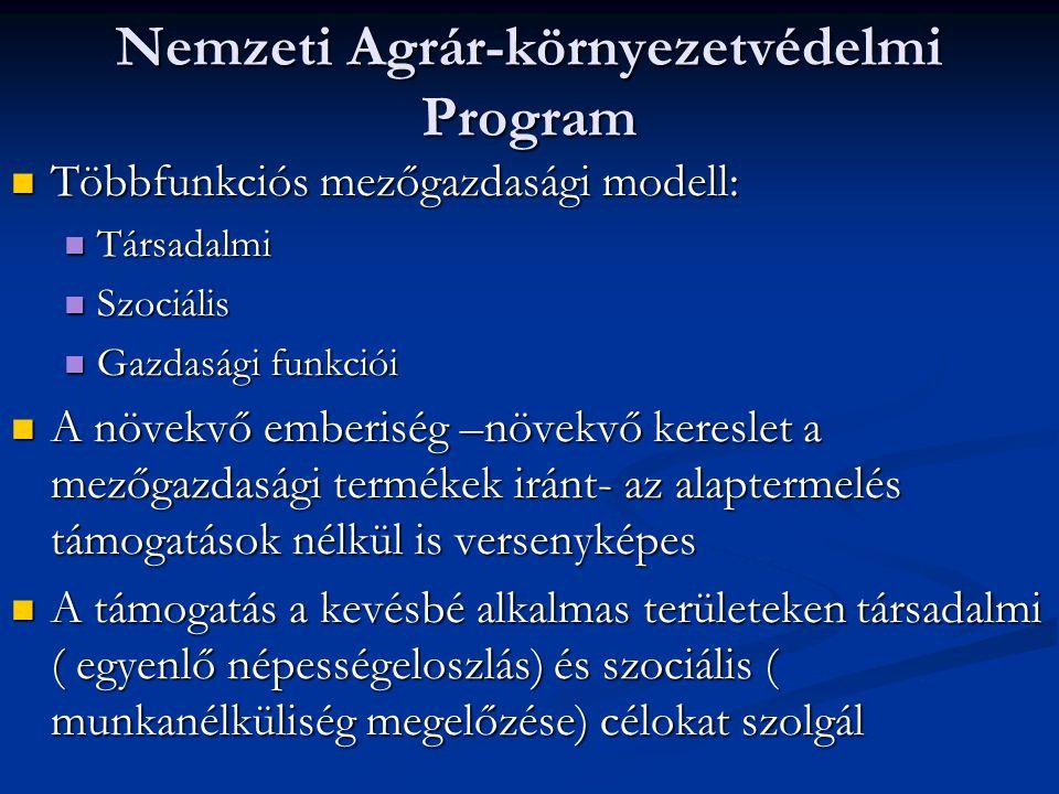 Nemzeti Agrár-környezetvédelmi Program Többfunkciós mezőgazdasági modell: Többfunkciós mezőgazdasági modell: Társadalmi Társadalmi Szociális Szociális Gazdasági funkciói Gazdasági funkciói A növekvő emberiség –növekvő kereslet a mezőgazdasági termékek iránt- az alaptermelés támogatások nélkül is versenyképes A növekvő emberiség –növekvő kereslet a mezőgazdasági termékek iránt- az alaptermelés támogatások nélkül is versenyképes A támogatás a kevésbé alkalmas területeken társadalmi ( egyenlő népességeloszlás) és szociális ( munkanélküliség megelőzése) célokat szolgál A támogatás a kevésbé alkalmas területeken társadalmi ( egyenlő népességeloszlás) és szociális ( munkanélküliség megelőzése) célokat szolgál