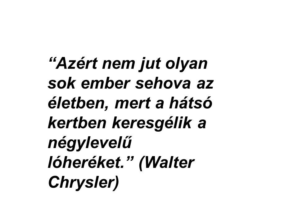 """""""Azért nem jut olyan sok ember sehova az életben, mert a hátsó kertben keresgélik a négylevelű lóheréket."""" (Walter Chrysler)"""