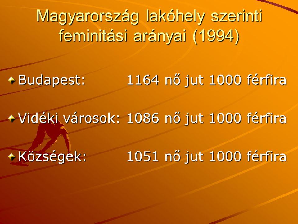 Magyarország lakóhely szerinti feminitási arányai (1994) Budapest:1164 nő jut 1000 férfira Vidéki városok:1086 nő jut 1000 férfira Községek:1051 nő ju