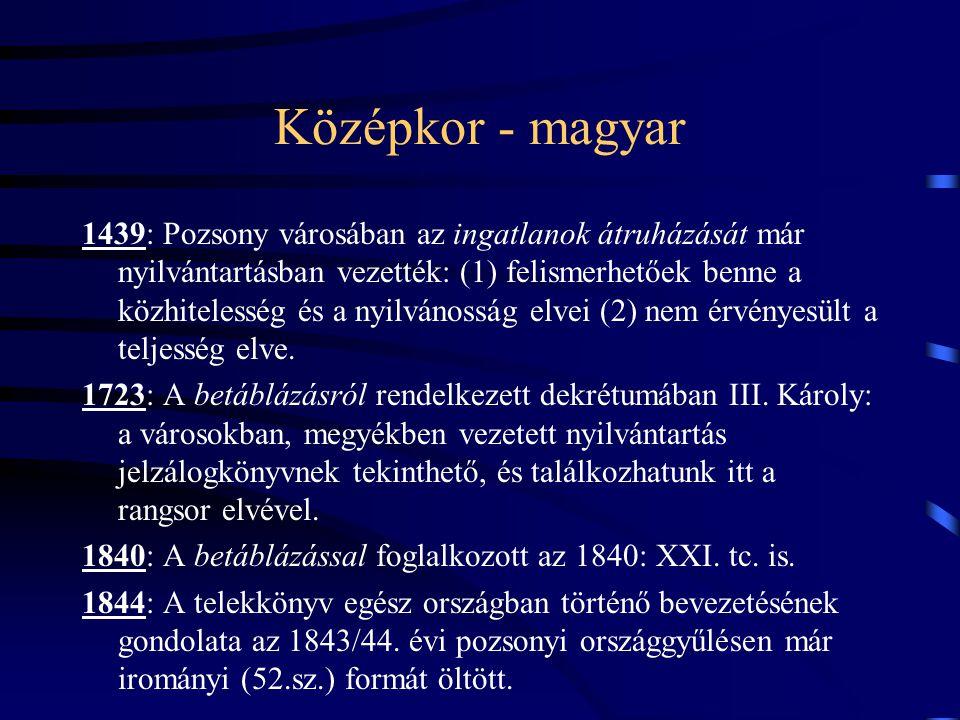 Középkor - magyar 1439: Pozsony városában az ingatlanok átruházását már nyilvántartásban vezették: (1) felismerhetőek benne a közhitelesség és a nyilv