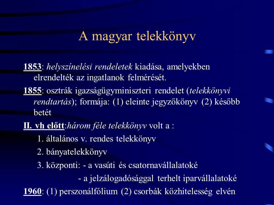 A magyar telekkönyv 1853: helyszínelési rendeletek kiadása, amelyekben elrendelték az ingatlanok felmérését. 1855: osztrák igazságügyminiszteri rendel