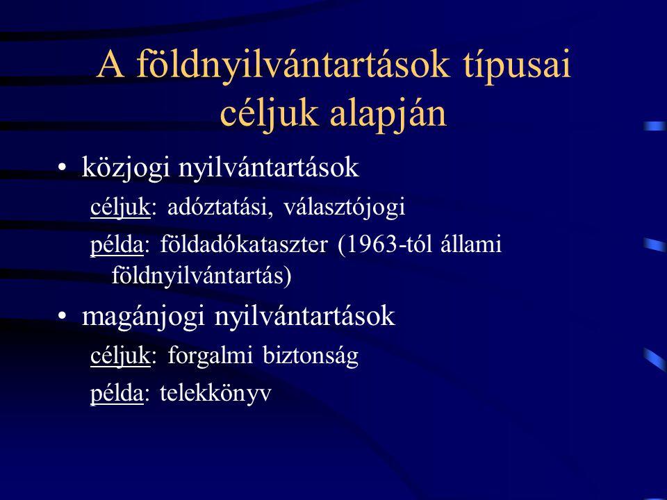 A földnyilvántartások típusai céljuk alapján közjogi nyilvántartások céljuk: adóztatási, választójogi példa: földadókataszter (1963-tól állami földnyi