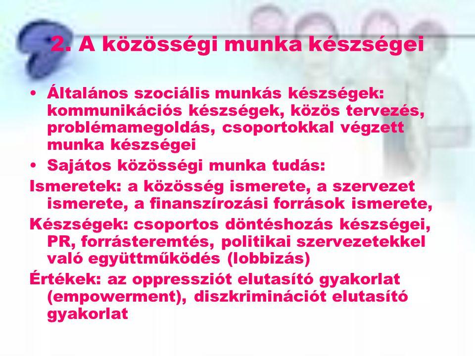 2. A közösségi munka készségei Általános szociális munkás készségek: kommunikációs készségek, közös tervezés, problémamegoldás, csoportokkal végzett m