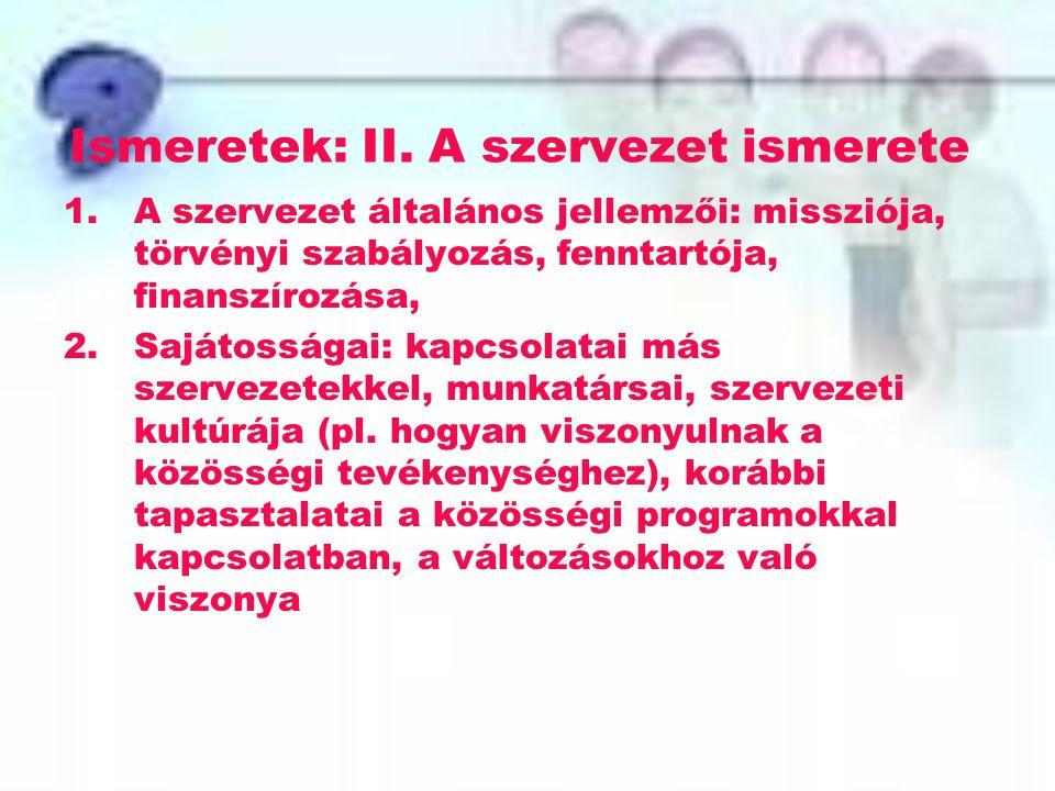 Ismeretek: II. A szervezet ismerete 1.A szervezet általános jellemzői: missziója, törvényi szabályozás, fenntartója, finanszírozása, 2.Sajátosságai: k