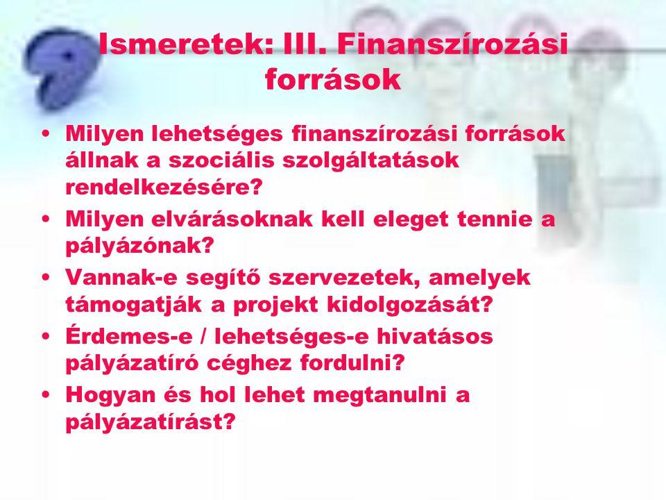 Ismeretek: III. Finanszírozási források Milyen lehetséges finanszírozási források állnak a szociális szolgáltatások rendelkezésére? Milyen elvárásokna