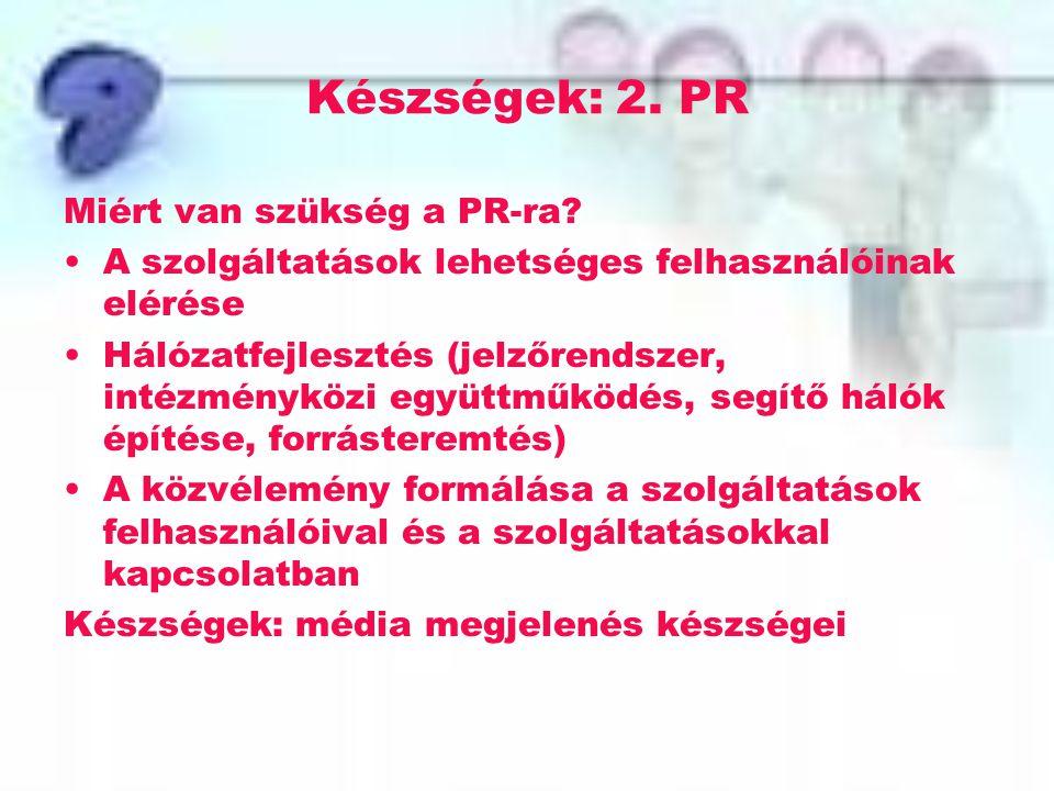 Készségek: 2. PR Miért van szükség a PR-ra? A szolgáltatások lehetséges felhasználóinak elérése Hálózatfejlesztés (jelzőrendszer, intézményközi együtt