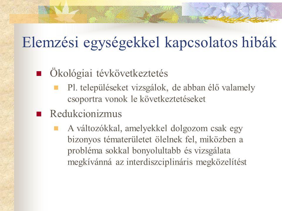 Elemzési egységekkel kapcsolatos hibák Ökológiai tévkövetkeztetés Pl.