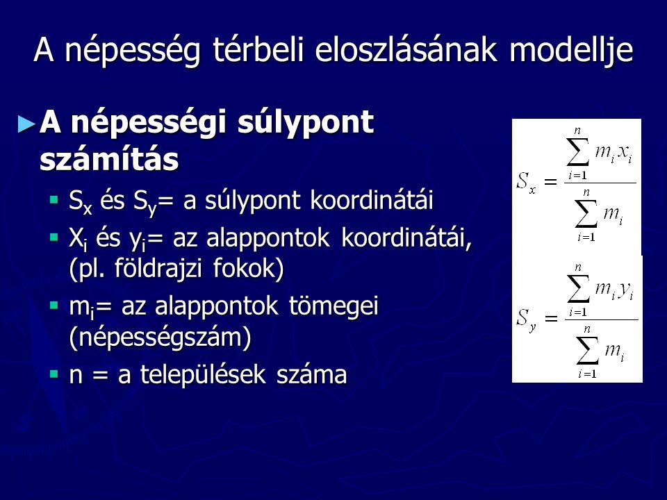 A népesség térbeli eloszlásának modellje ► A népességi súlypont számítás  S x és S y = a súlypont koordinátái  X i és y i = az alappontok koordinátá