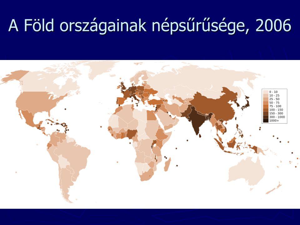 A Föld országainak népsűrűsége, 2006