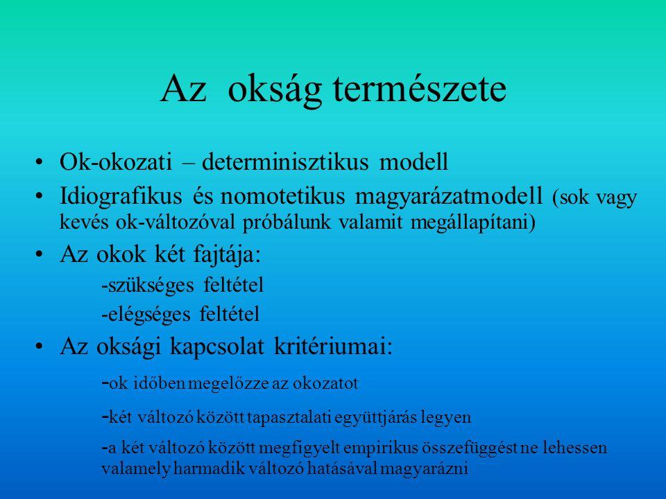 Az okság természete Ok-okozati – determinisztikus modell Idiografikus és nomotetikus magyarázatmodell (sok vagy kevés ok-változóval próbálunk valamit