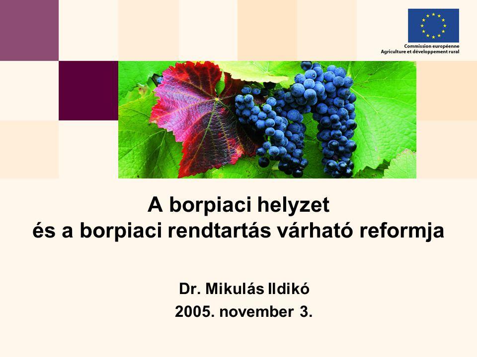 Dr. Mikulás Ildikó 2005. november 3. A borpiaci helyzet és a borpiaci rendtartás várható reformja