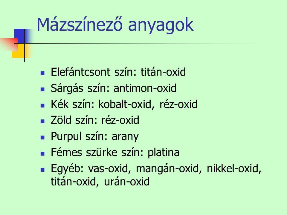 Mázszínező anyagok Elefántcsont szín: titán-oxid Sárgás szín: antimon-oxid Kék szín: kobalt-oxid, réz-oxid Zöld szín: réz-oxid Purpul szín: arany Féme