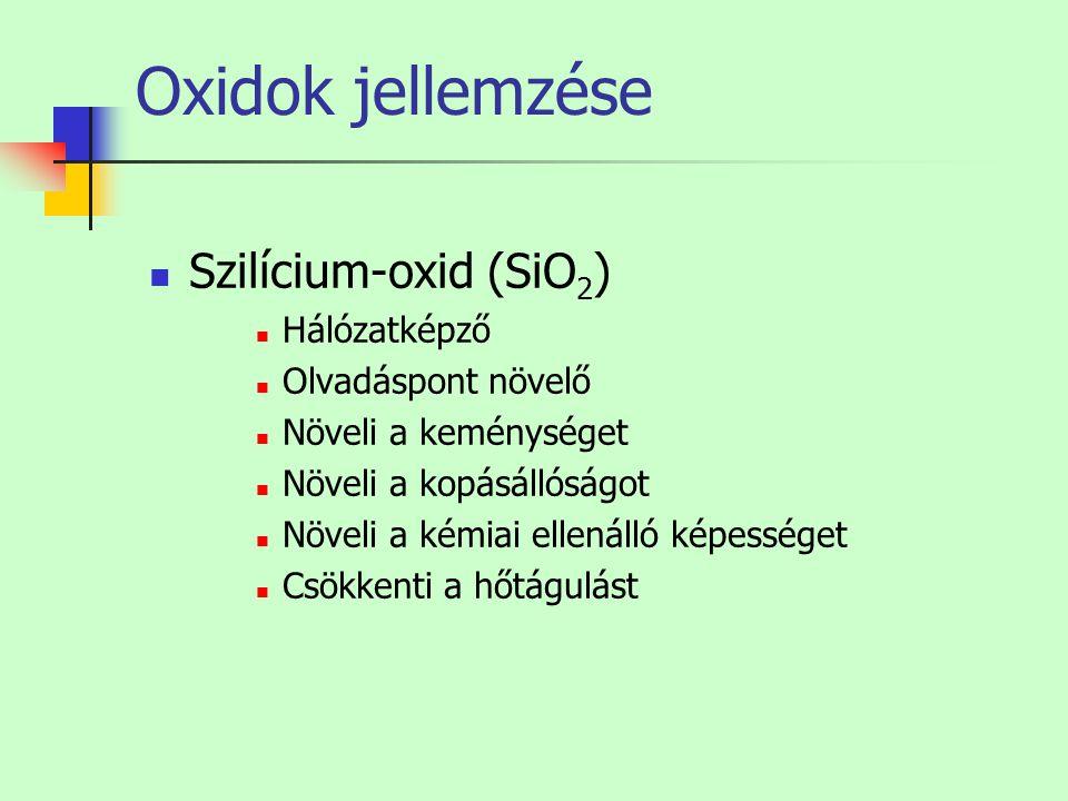 Oxidok jellemzése Szilícium-oxid (SiO 2 ) Hálózatképző Olvadáspont növelő Növeli a keménységet Növeli a kopásállóságot Növeli a kémiai ellenálló képes