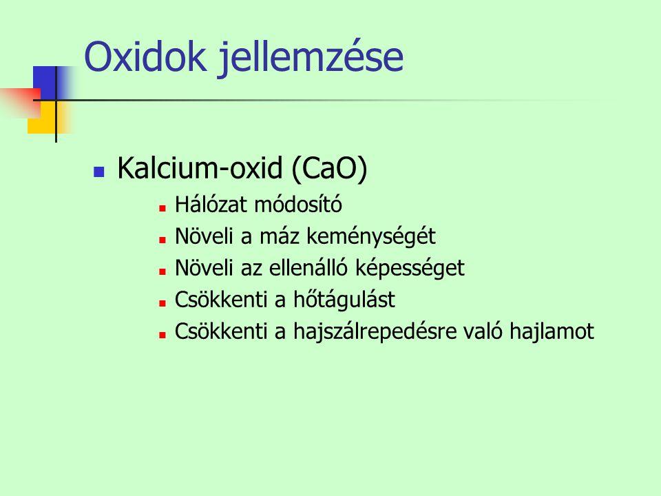 Oxidok jellemzése Kalcium-oxid (CaO) Hálózat módosító Növeli a máz keménységét Növeli az ellenálló képességet Csökkenti a hőtágulást Csökkenti a hajsz