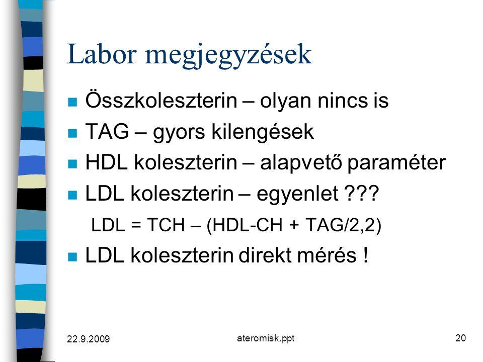 22.9.2009 ateromisk.ppt20 Labor megjegyzések n Összkoleszterin – olyan nincs is n TAG – gyors kilengések n HDL koleszterin – alapvető paraméter n LDL