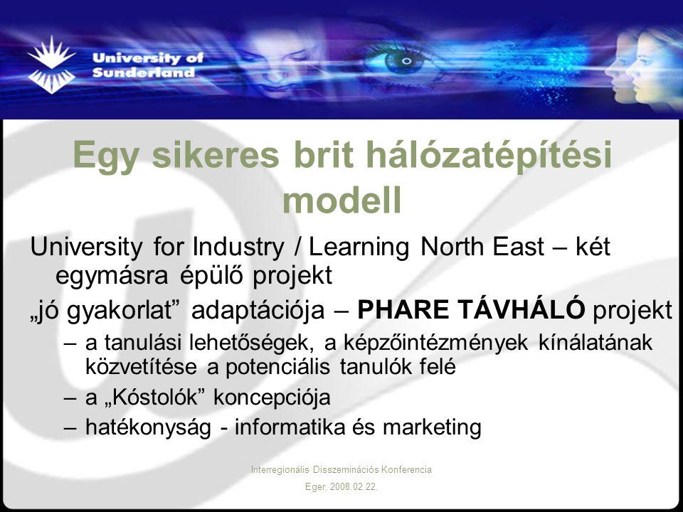Interregionális Disszeminációs Konferencia Eger, 2008.02.22. Egy sikeres brit hálózatépítési modell University for Industry / Learning North East – ké