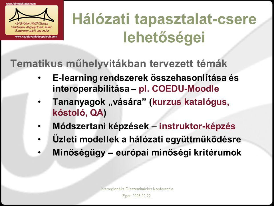 Interregionális Disszeminációs Konferencia Eger, 2008.02.22. Hálózati tapasztalat-csere lehetőségei Tematikus műhelyvitákban tervezett témák E-learnin