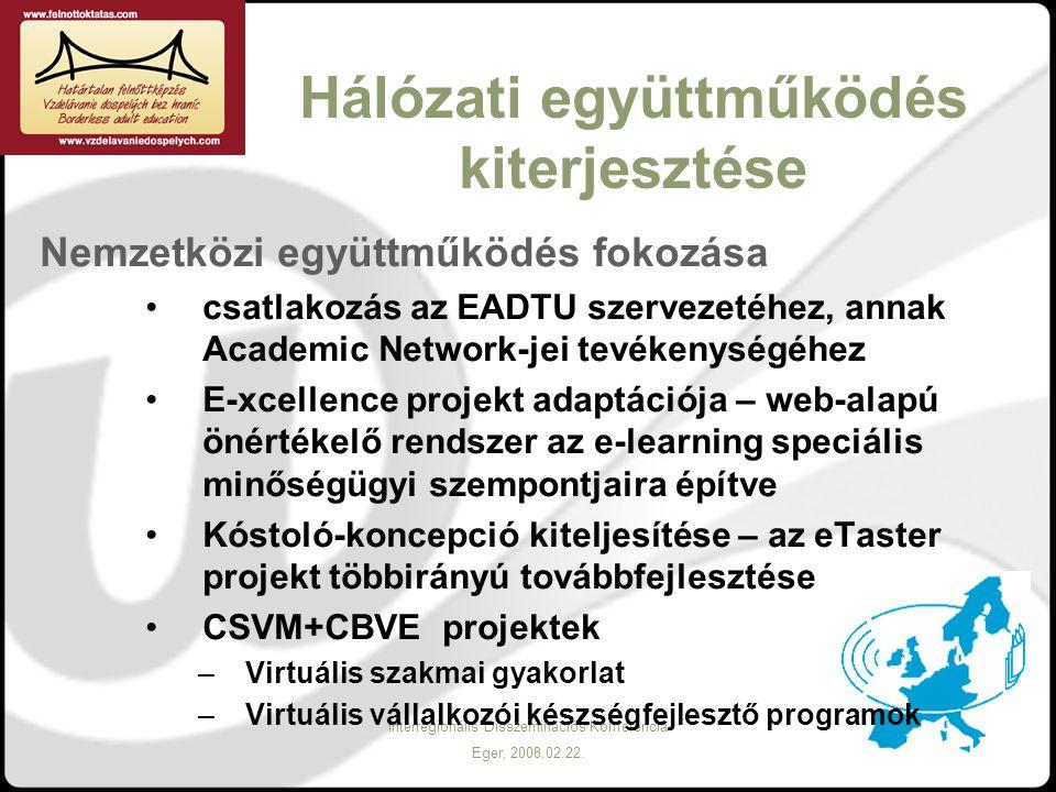 Interregionális Disszeminációs Konferencia Eger, 2008.02.22. Hálózati együttműködés kiterjesztése Nemzetközi együttműködés fokozása csatlakozás az EAD
