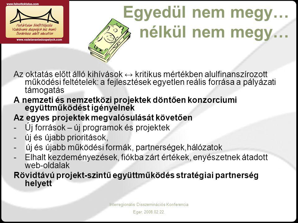 Interregionális Disszeminációs Konferencia Eger, 2008.02.22. Egyedül nem megy… nélkül nem megy… Az oktatás előtt álló kihívások ↔ kritikus mértékben a