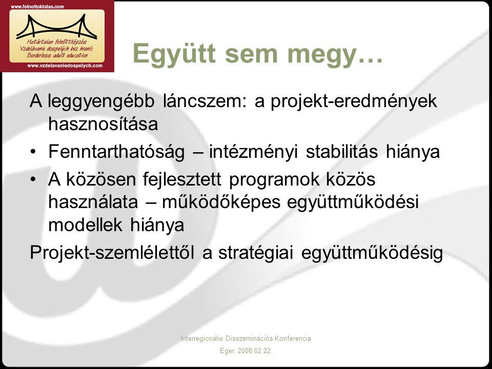 Interregionális Disszeminációs Konferencia Eger, 2008.02.22. Együtt sem megy… A leggyengébb láncszem: a projekt-eredmények hasznosítása Fenntarthatósá