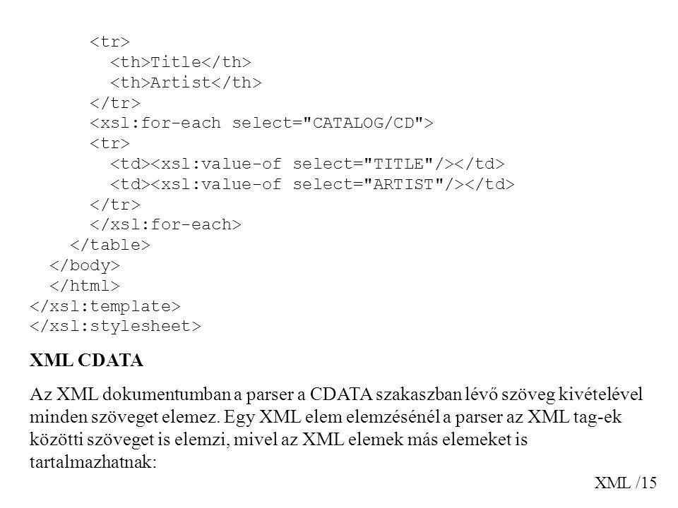 XML /15 Title Artist XML CDATA Az XML dokumentumban a parser a CDATA szakaszban lévő szöveg kivételével minden szöveget elemez. Egy XML elem elemzésén