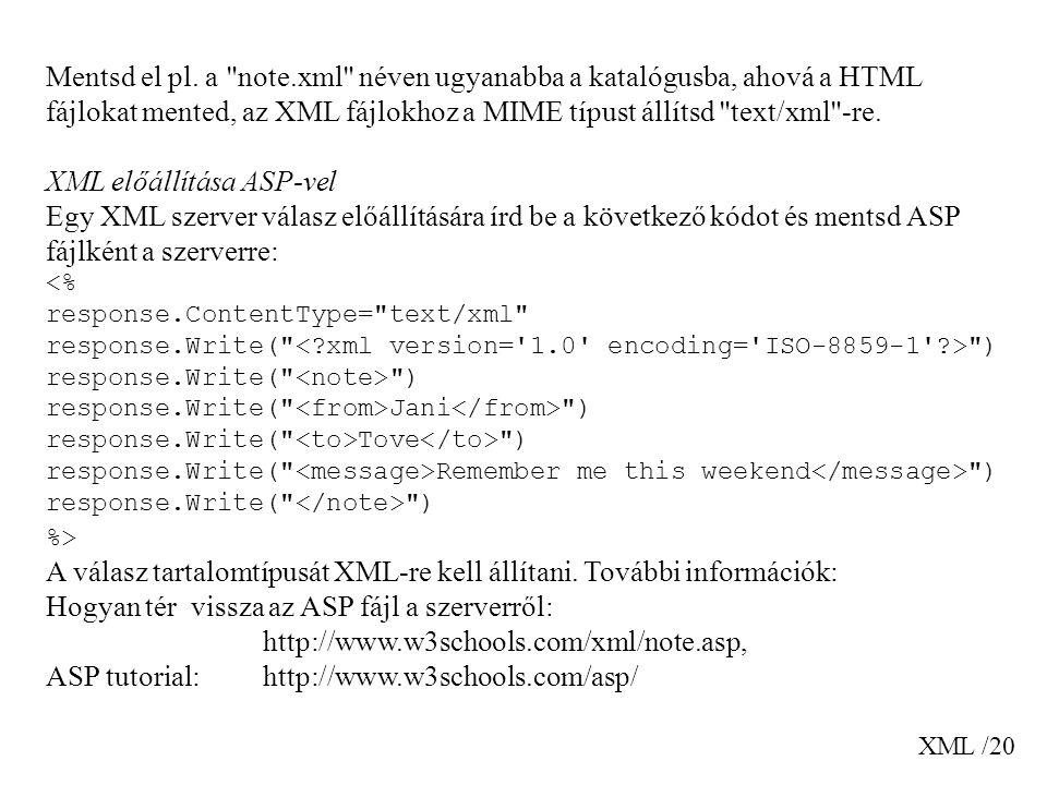 XML /20 Mentsd el pl. a