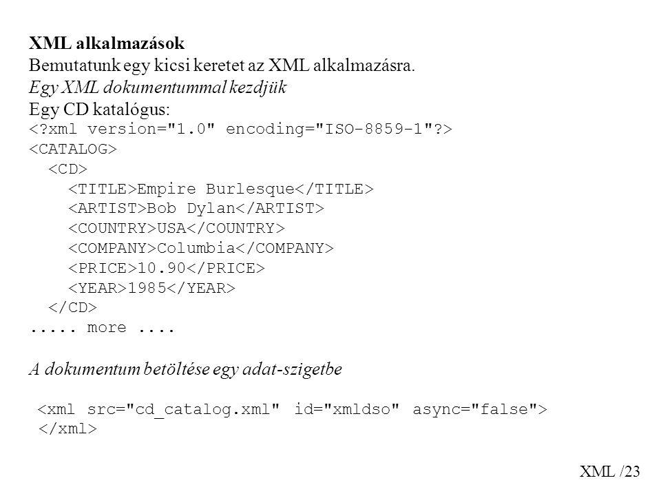 XML /23 XML alkalmazások Bemutatunk egy kicsi keretet az XML alkalmazásra. Egy XML dokumentummal kezdjük Egy CD katalógus: Empire Burlesque Bob Dylan