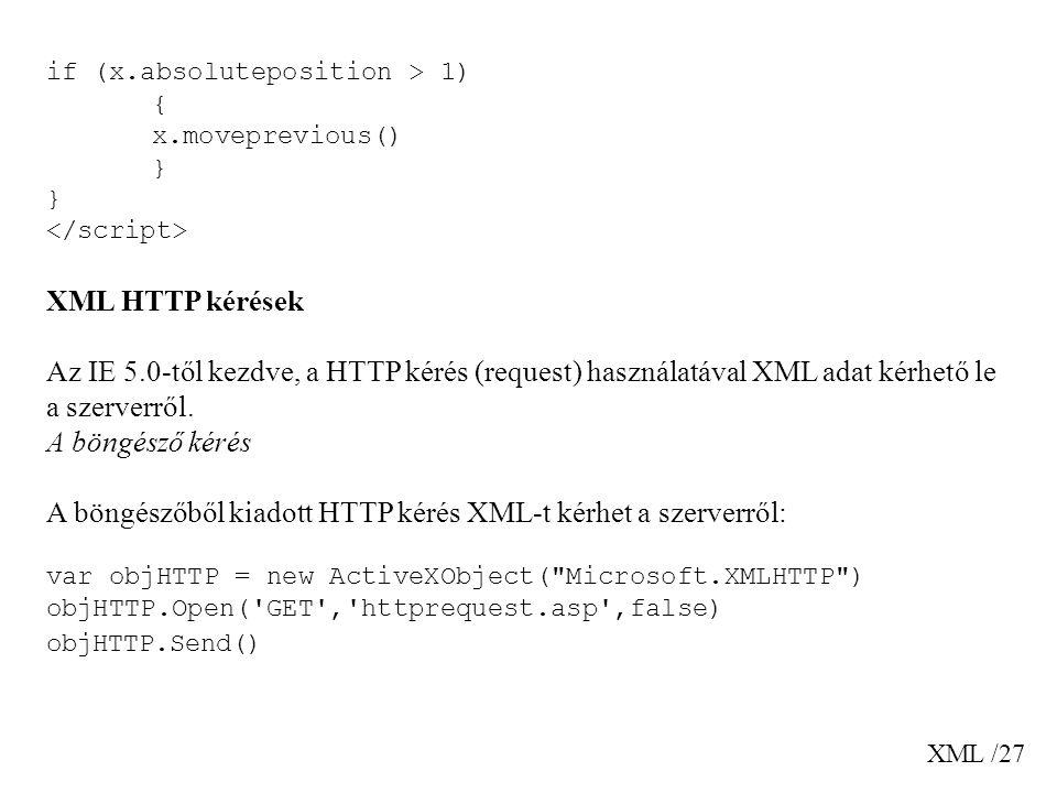 XML /27 if (x.absoluteposition > 1) { x.moveprevious() } XML HTTP kérések Az IE 5.0-től kezdve, a HTTP kérés (request) használatával XML adat kérhető