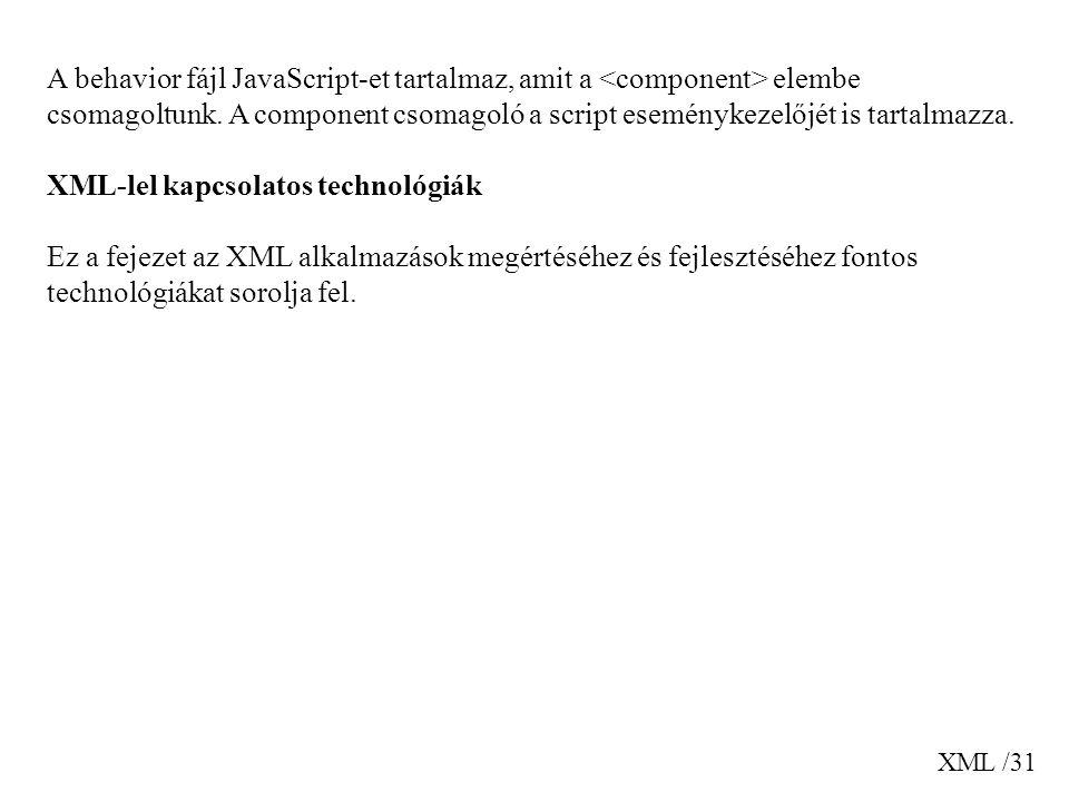 XML /31 A behavior fájl JavaScript-et tartalmaz, amit a elembe csomagoltunk. A component csomagoló a script eseménykezelőjét is tartalmazza. XML-lel k