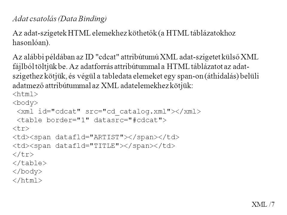 XML /7 Adat csatolás (Data Binding) Az adat-szigetek HTML elemekhez köthetők (a HTML táblázatokhoz hasonlóan). Az alábbi példában az ID