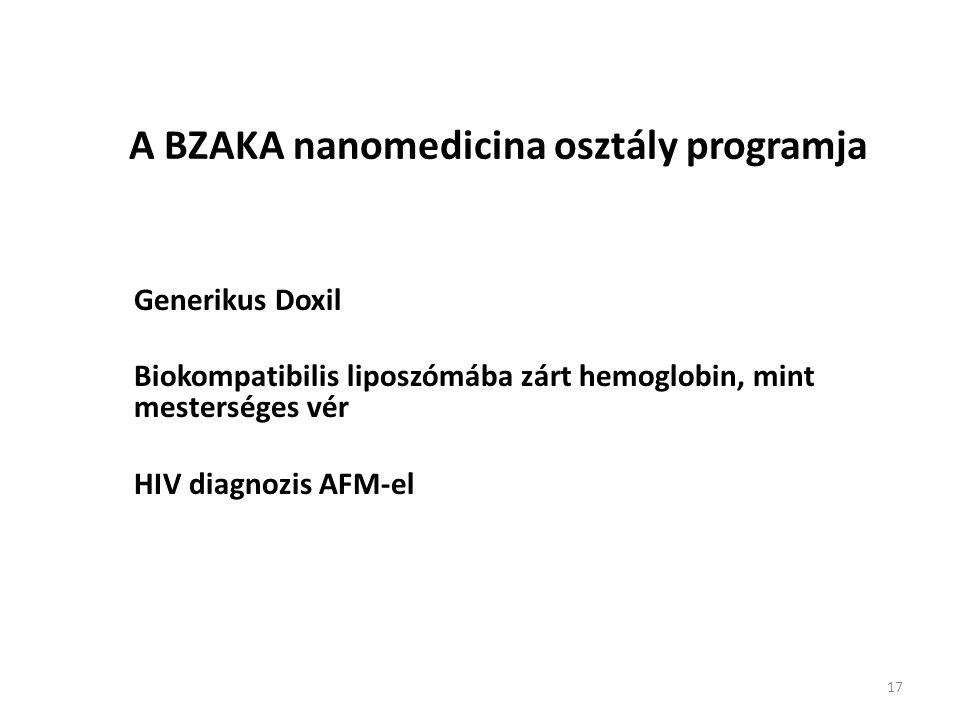 17 A BZAKA nanomedicina osztály programja – Generikus Doxil – Biokompatibilis liposzómába zárt hemoglobin, mint mesterséges vér – HIV diagnozis AFM-el