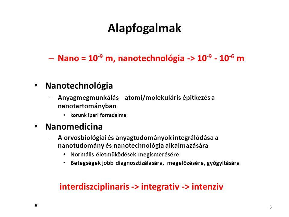 Alapfogalmak – Nano = 10 -9 m, nanotechnológia -> 10 -9 - 10 -6 m 10 -9 méter Nanotechnológia – Anyagmegmunkálás – atomi/molekuláris épitkezés a nanot