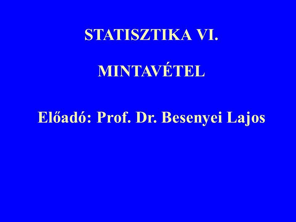 STATISZTIKA VI. MINTAVÉTEL Előadó: Prof. Dr. Besenyei Lajos