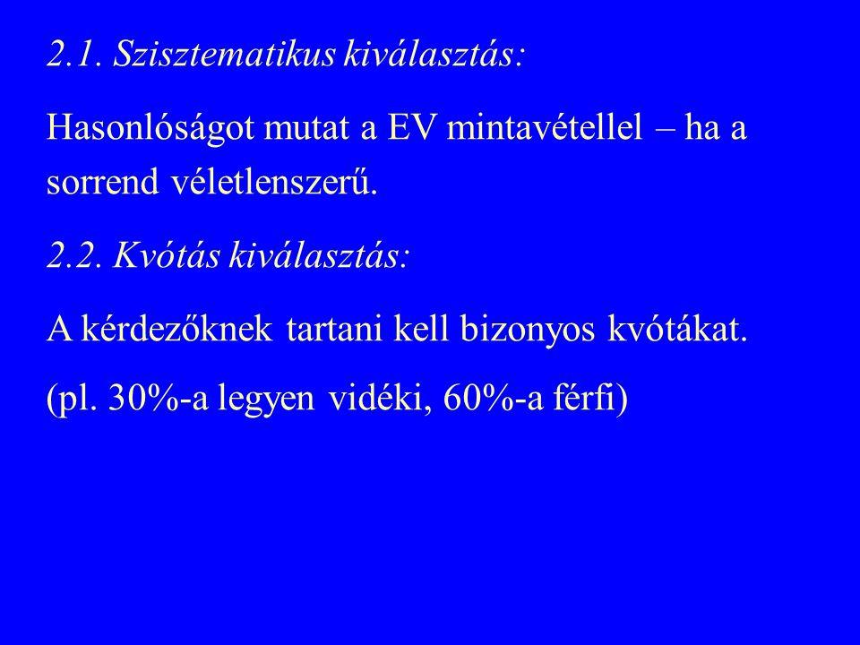 2.1. Szisztematikus kiválasztás: Hasonlóságot mutat a EV mintavétellel – ha a sorrend véletlenszerű. 2.2. Kvótás kiválasztás: A kérdezőknek tartani ke