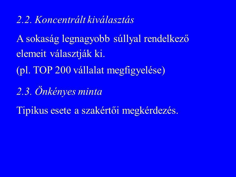 2.2. Koncentrált kiválasztás A sokaság legnagyobb súllyal rendelkező elemeit választják ki. (pl. TOP 200 vállalat megfigyelése) 2.3. Önkényes minta Ti