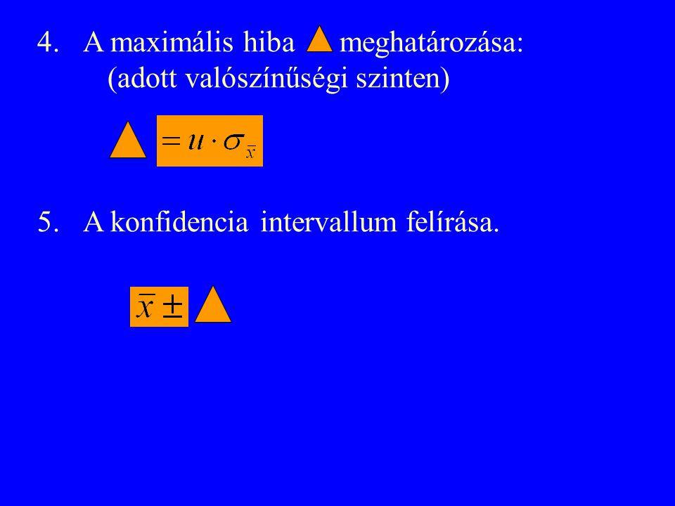 4. A maximális hiba meghatározása: (adott valószínűségi szinten) 5. A konfidencia intervallum felírása.
