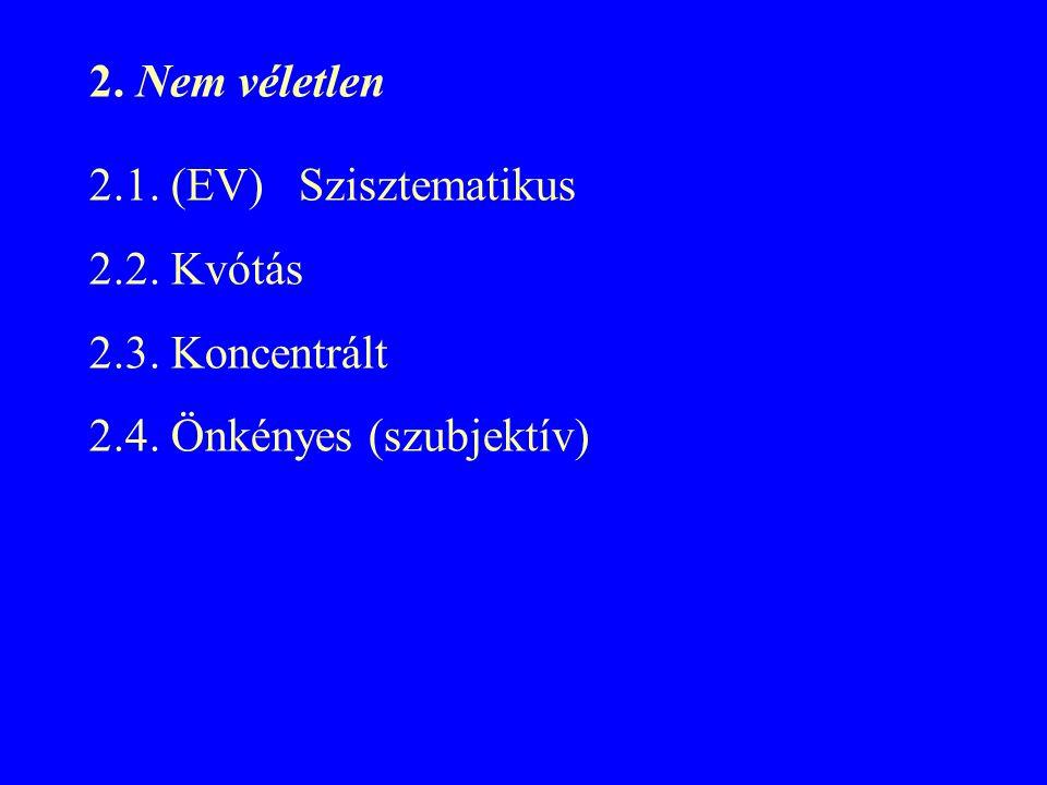 2. Nem véletlen 2.1. (EV)Szisztematikus 2.2. Kvótás 2.3. Koncentrált 2.4. Önkényes (szubjektív)