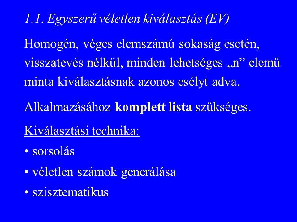 """1.1. Egyszerű véletlen kiválasztás (EV) Homogén, véges elemszámú sokaság esetén, visszatevés nélkül, minden lehetséges """"n"""" elemű minta kiválasztásnak"""