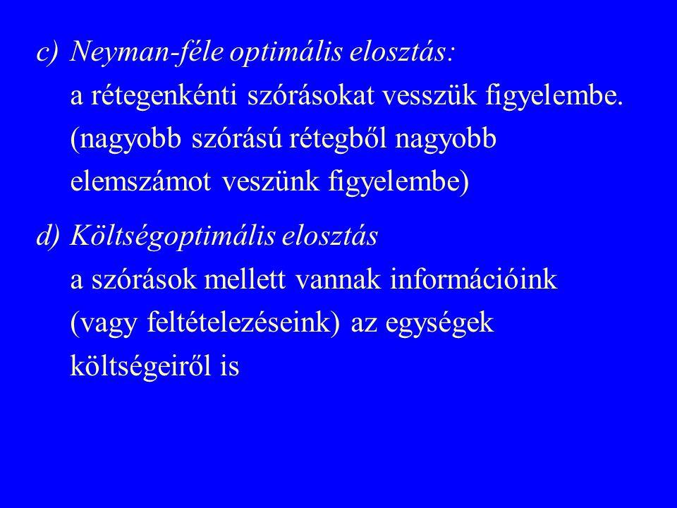 c)Neyman-féle optimális elosztás: a rétegenkénti szórásokat vesszük figyelembe. (nagyobb szórású rétegből nagyobb elemszámot veszünk figyelembe) d)Köl
