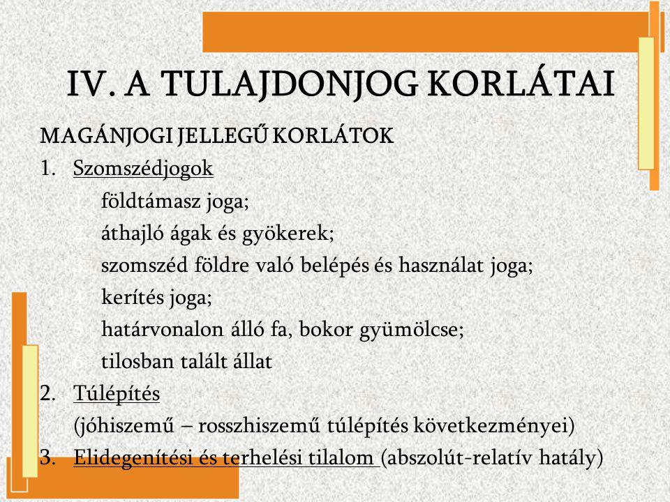 IV. A TULAJDONJOG KORLÁTAI MAGÁNJOGI JELLEGŰ KORLÁTOK 1.Szomszédjogok 1. földtámasz joga; 2. áthajló ágak és gyökerek; 3. szomszéd földre való belépés